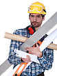 Job Handyman Struggling To Carry His Equipment stock image