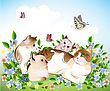 Happy ?ats Family. Cat And Kittens On The Meadow. stock illustration