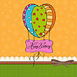 Happy Birthday Card With Balloons.vector Illustration