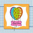 Happy Birthday Card With Balloons.vector Illustration stock illustration