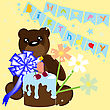 Happy Birthday Card With Bear And Cake. Vector Illustration.