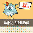 Happy Birthday Card With Funny Doodle Bird, Vector Format