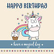 Happy Birthday Card With Lovely Baby Unicorn, Vector Format stock illustration