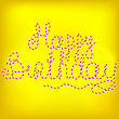 Happy Birthday Isolated On Yellow Soft Background