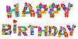Happy Birthday, Letters Are Made Of Different Gift Boxes And Presents