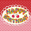 Happy Birthday, Letters Are Made Of Different Gift Boxes And Presents. Oval Frame On Polka Dot Background