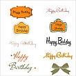 Happy Birthday Texts Set Isolated On White Background, Vector Illustration