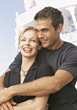Smiling Happy Couple on Honeymoon stock image