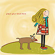Happy Dog With Girl stock illustration