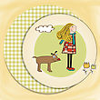 Personage Happy Dog With Girl stock illustration