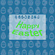 Happy Easter Banner. Easter Card On Spring Eggs Blue Background