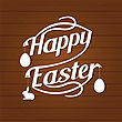Happy Easter Lettering. White Letters Text On Dark Brown Wood Background