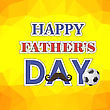 Happy Fathers Day Poster On Yellow Polygonal Background
