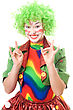 Happy Female Clown. stock photo
