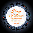 Happy Halloween Greeting Card. Elegant Design With Moon On Sky And Different Cats Around Moon. Vector Illustration