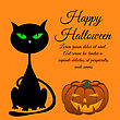 Happy Halloween Greeting Card. Elegant Design With Sitting Cat With Green Eyes And Smiling Pumpkin Over Orange Background. Vector Illustration