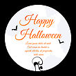Happy Halloween Greeting Card. Elegant Design With Moon On Sky, Silhouettes Of Flying Bats And Cat With Curved Back Inside Moon. Vector Illustration