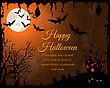 Happy Halloween Greeting Card. Elegant Design With Castle, Bats, Owl, Grave And Cemetery, Tree Over Grunge Orange Background With Ink Blots. Vector Illustration