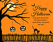 Happy Halloween Greeting Card. Elegant Design With Tree, Bats, Pumpkin, Cat Going On A Fence And Sitting Raven Over Grunge Orange. Vector Illustration
