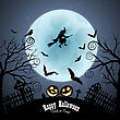 Happy Halloween Greeting Card. Elegant Design With Bats, Owl, Grave, Cemetery, Fence, Moon, Tree And Witch Over Grunge Dark Blue Starry Sky Background. Vector Illustration stock vector