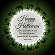 Happy Halloween Greeting Card. Elegant Design With Moon On Green Sky And Different Cats Around Moon. Vector Illustration