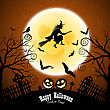 Happy Halloween Greeting Card. Elegant Design With Bats, Owl, Grave, Cemetery, Fence, Moon, Tree And Witch Over Grunge Dark Blue Starry Sky Background. Vector Illustration stock illustration