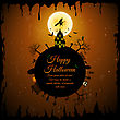 Happy Halloween Greeting Card. Elegant Design With Castle, Bats, Owl, Grave, Tree, Witch, Cemetery And Moon Over Grunge Dark Blue Starry Sky Background. Vector Illustration stock illustration