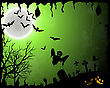 Happy Halloween Greeting Card. Elegant Design With Bats, Spooky, Grave, Cemetery, Tree And Moon Over Green Grunge Starry Sky Background With Ink Blots. Vector Illustration stock vector
