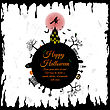 Happy Halloween Greeting Card. Elegant Design With Castle, Bats, Owl, Grave, Tree, Witch, Cemetery And Moon Over Grunge Background. Vector Illustration stock illustration
