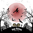 Happy Halloween Greeting Card. Elegant Design With Bats, Owl, Grave, Cemetery, Fence, Moon, Tree And Witch Over Grunge White Background. Vector Illustration stock vector