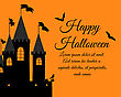 Happy Halloween Greeting (Invitation) Card. Elegant Design With Castle, Raven And Bats Over Orange Background. Vector Illustration