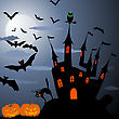 Happy Halloween Theme Greeting Card. Vector Illustration.