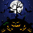 Happy Halloween Theme Greeting Card. Vector Illustration