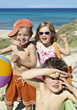 Happy Kids on the Beach stock image