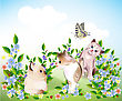 Childlike Happy Little Kittens And Butterfly Play On The Meadow stock vector
