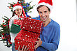 Happy Man On Christmas Day stock image