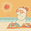 Happy Man On Summer Vacation.Vector Illustration Of Beach