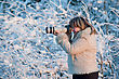 Happy Middle-aged Woman Photographer On Winters Day In Forest. stock image