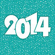 Happy New Year 2014 Greeting Card In Blue And White Colors