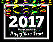 Happy New Year 2017 On A Background Of Confetti And Streamers. Vector Illustration