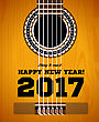 Happy New Year On The Background Of Guitars And Strings. Vector Illustration