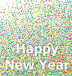 Happy New Year Lettering Title On Colorful Particles Confetti Background - Vector