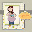 Happy Pregnant Woman, Baby Shower Card, Vector Format