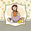 Happy Pregnant Woman, Baby Shower Card stock illustration