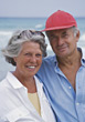 Happy Senior Couple on Vacation stock image