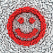 Happy Smile Made From Matrix Of Red Cubes