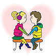 Happy Teen Lovers Couple: A Boy And A Girl Holding Hands, Sitting At The Bench