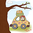 Picnic Happy Woman Going On Holiday By Car, Vector Illustration stock illustration