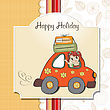 Happy Woman Going On Holiday By Car, Vector Illustration stock illustration