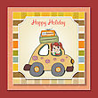 Happy Woman Going On Holiday By Car, Vector Illustration stock vector